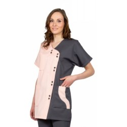 Veste femme CATANE en poly/coton à manches courtes et col en V