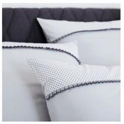 Taie d'oreiller imprimée percale de coton 80 fils/cm² finition galon