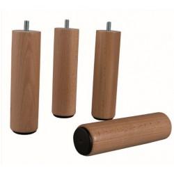Pied cylindrique bois naturel (lot de 4)
