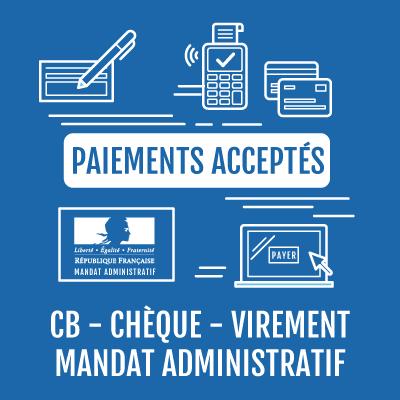 Moyens de paiement acceptés : CB, chèque, virement, mandat administratif